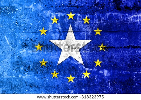 European Union and Somalia Flag painted on grunge wall - stock photo