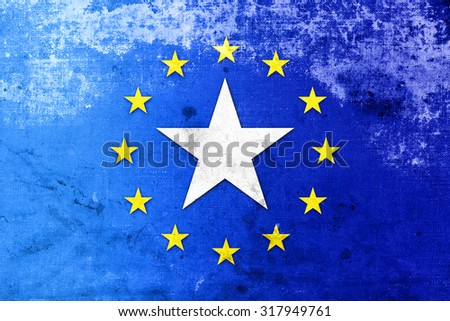 European Union and Somalia Flag with a vintage, old look - stock photo