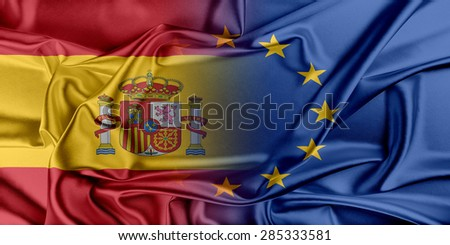 European Union and Spain. The concept of relationship between EU and Spain. - stock photo
