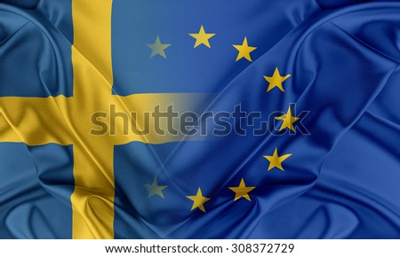 European Union and Sweden. The concept of relationship between EU and Sweden. - stock photo
