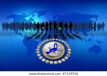 European Union, background blue - stock photo