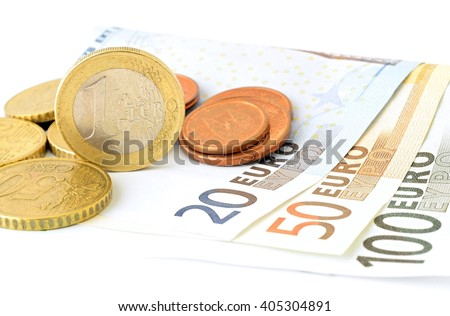 European Union banknotes and coins on white background. Nominal value of banknotes is 100 Euro. 50 Euro. 20 Euro.  - stock photo