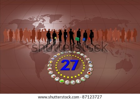 European Union, business and flags - stock photo