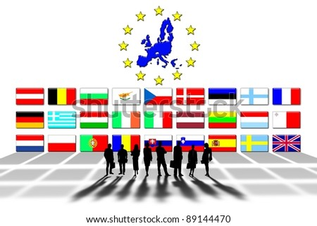 European Union countries and flags - stock photo