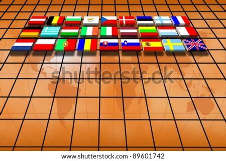 European Union countries: flags. - stock photo