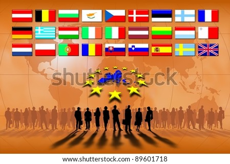 European Union countries: flags and map. - stock photo