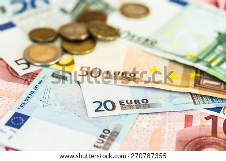 European Union Currency, Currency, Coin. - stock photo