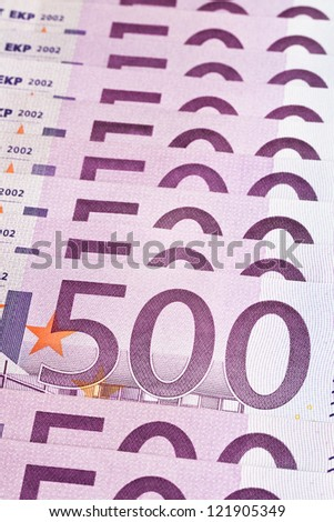 European Union Currency. Stack of 500 euro banknotes. - stock photo