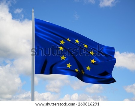 European Union 3d flag floating in the wind with a blue sky in the background - stock photo