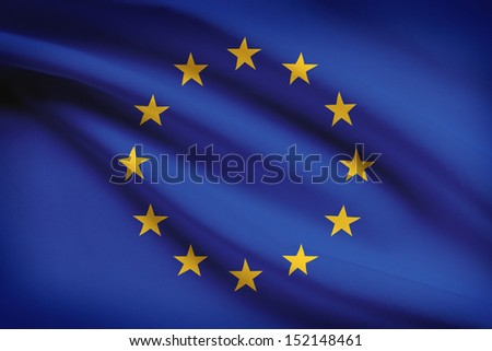 European Union flag blowing in the wind. Part of a series. - stock photo