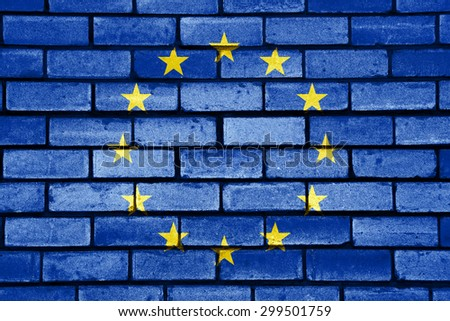 European union flag painted on old brick wall texture background - stock photo