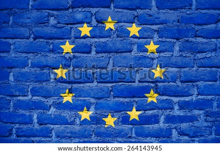 European Union flag painted on old wall brick texture - stock photo