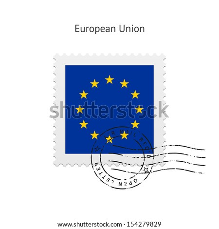 European Union Flag Postage Stamp on white background. See also vector version.
