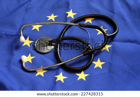 European Union Flag, stethoscope - stock photo