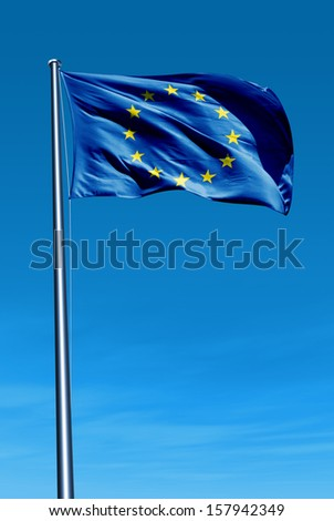 European Union flag waving on the wind - stock photo
