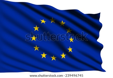 European Union flag with fabric structure (clipping path)