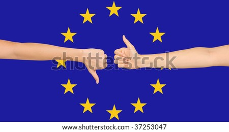 European Union flag with positive and negative hand gestures - stock photo