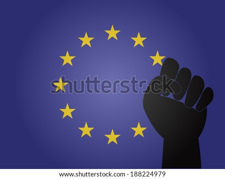 European Union Flag with Protest Sign - stock photo