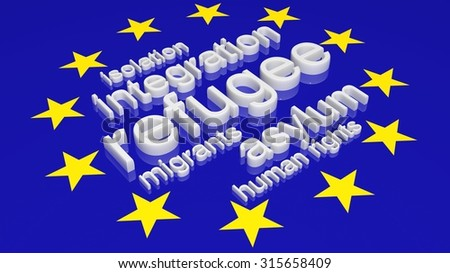 European Union flag with text associated with immigration. - stock photo