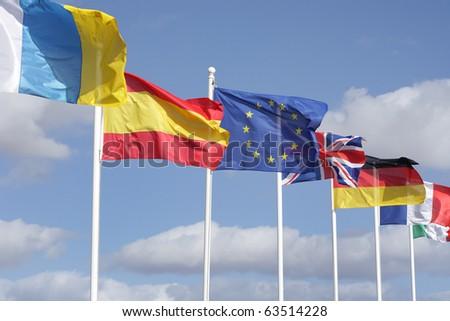 european union flags   europe member states - stock photo