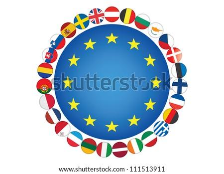 European Union flags illustration - stock photo