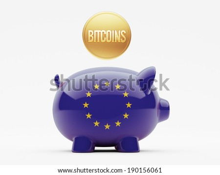 European Union High Resolution Bitcoin Concept - stock photo