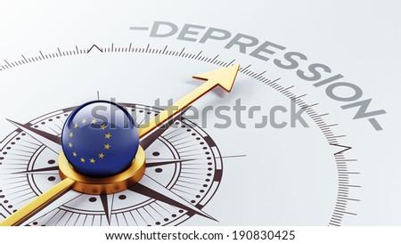 European Union High Resolution Depression Concept - stock photo