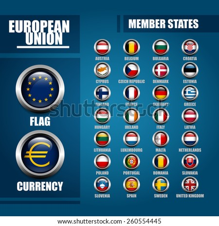European Union Member States Badges Sheet with EU Flag and Euro Currency Symbol