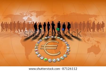 European Union orange background - stock photo