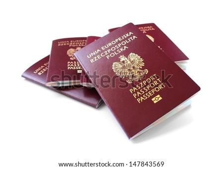 european union passports isolated on white background  - stock photo