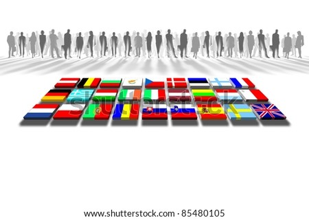 European Union people and flags - stock photo