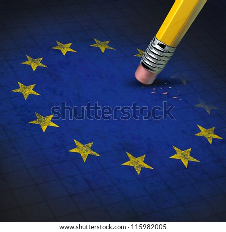 European union problems with the Europe flag with yellow stars erased by a pencil eraser shwing the financial crisis the economy is causing to membership as Greece Italy Spain Germany France Britain. - stock photo
