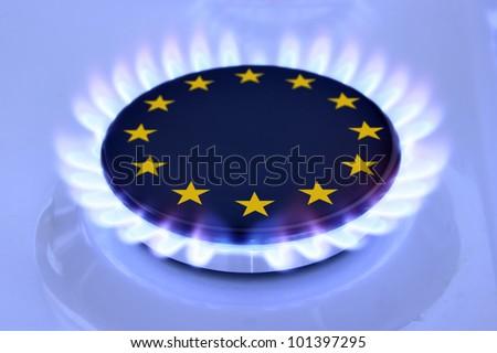 European Union Sign on the hob - stock photo
