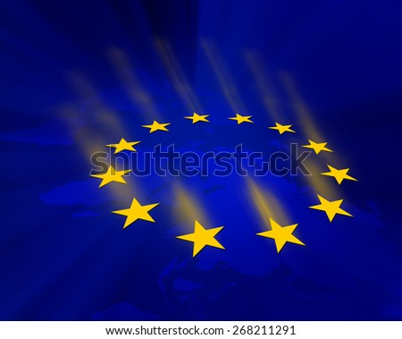 European Union stars glare on dark blue background - stock photo