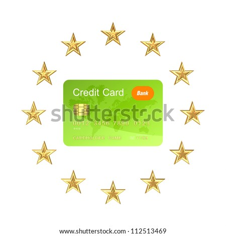 European Union symbol and green credit card.Isolated on white background.3d rendered. - stock photo