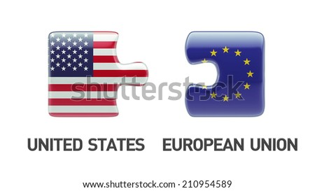 European Union United States High Resolution Puzzle Concept - stock photo