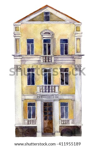 European urban residential house, painted in watercolor, city building drawing by watercolor isolated at white background, hand drawn vector elements - stock photo