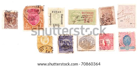 European various vintage collection of postage stamps.