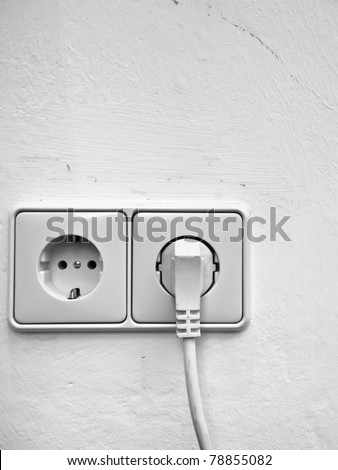 European wall outlet - stock photo