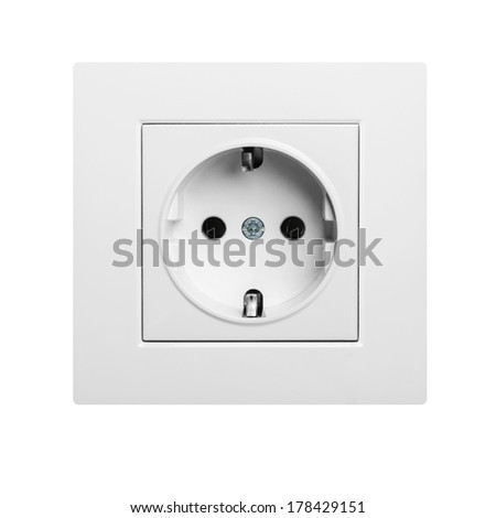 European wall outlet isolated on white background - stock photo