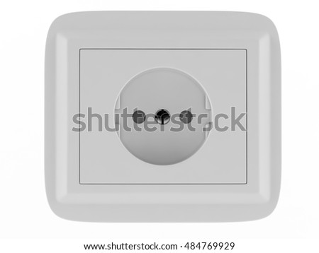 European wall outlet on white background. 3D rendering