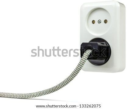 European wall power outlet with power plug isolated on a white background - stock photo
