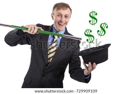 European. White man doing magic. Dollars fly out of the hat. Isolated on white background.