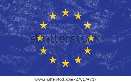 Europian flag on leather texture - world flag leather textured