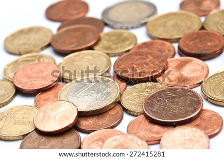 euros and cents coins closeup on white  background - stock photo
