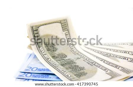 Euros and dollars - stock photo