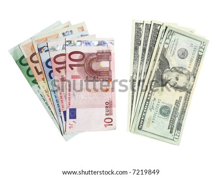 Euros and dollars isolated on white background
