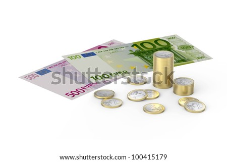 Euros and one Eur coins on white background