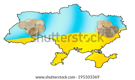 Euros and Rubles on the map of Ukraine - stock photo