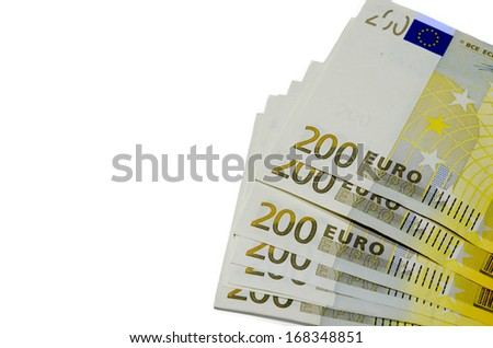 Euros banknote with a  isolated on a white background